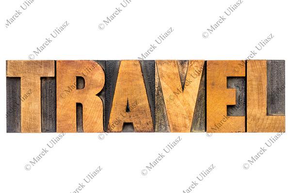travel word typography