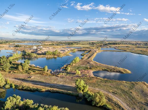 gravel quarry and ponds aerial view