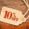 ten percent off discount -  paper price tag
