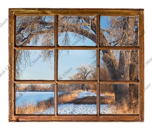 winter park scene from old cabin window