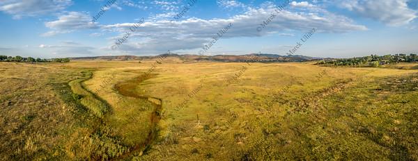 prairie at Colorado foothills - aerial panorama