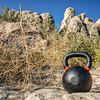 heavy iron kettlebell with tumbelweed