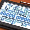 social media word cloud on tablet