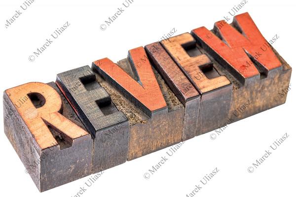 review word in vintage wood type