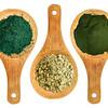 spirulina, kelp and chlorella powders