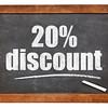 twenty percent discount blackboard sign