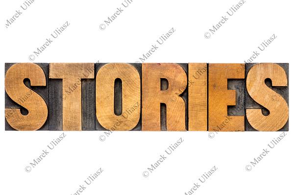 stories word in wood type