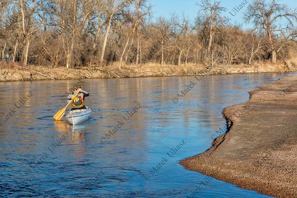 canoe paddling on South Platte RIver