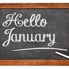 Hello January sign on blackboard