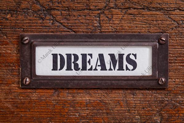 dreams  file cabinet label