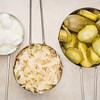 sauerkraut, cucumber pickles and yogurt