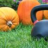 heavy kettlebell and pumpkins