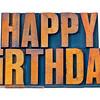 happy birthday in letterpress wood type