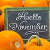 Hello November sign on blackboard