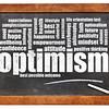 optimism word cloud on blackboard