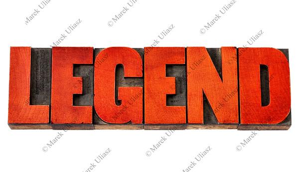 legend word in wood type