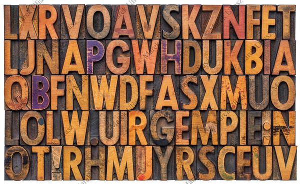 letterpress alphabet abstract background
