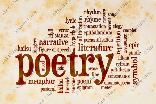 poetry word cloud on vintage paper