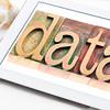 data word on  digital tablet