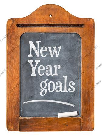 New Year goals  on  blackboard