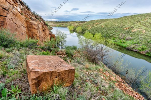 old sandstone quarry on lake shore