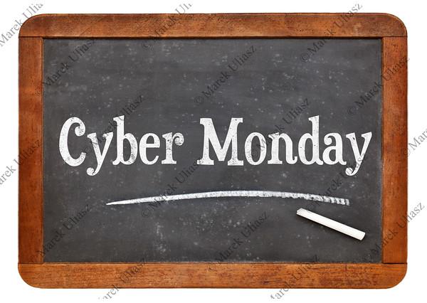 Cyber Monday blackboard sign