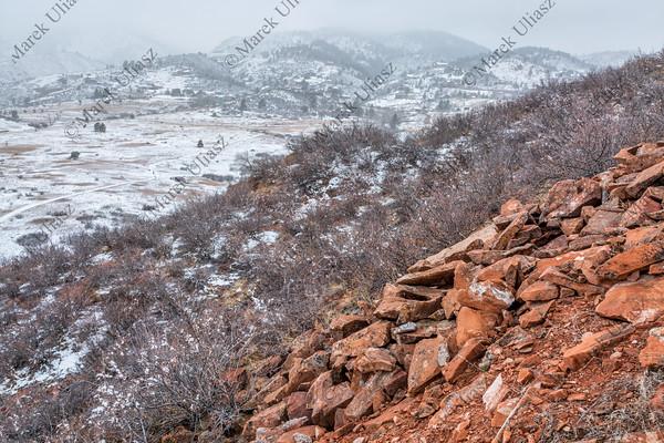 snowstorm over Colorado foothills