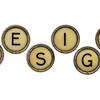 design word in typewriter keys