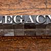 legacy word in metal type