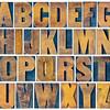 alphabet set in vintage letterpress wood type