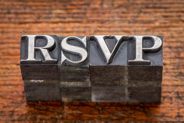 rsvp acronym in metal type