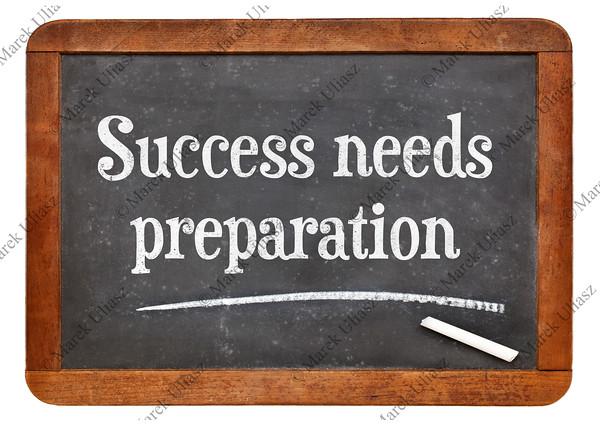 Success needs preparation on blackboard