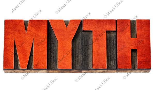 myth word in letterpress wood type