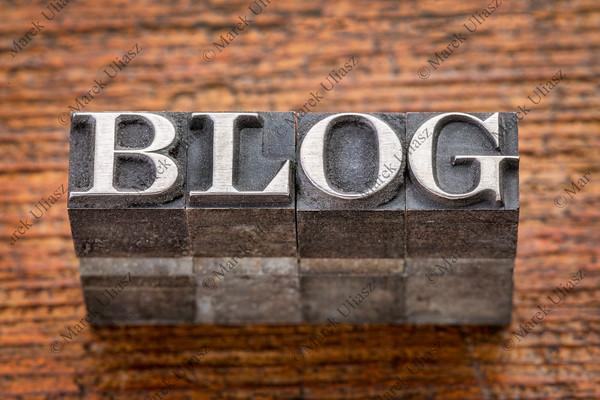 blog word in mixed vintage metal type