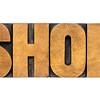shop word in wood type