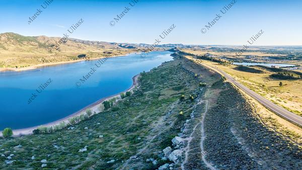 Horsetooth Reservoir aerial panorama
