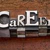 career word in metal type