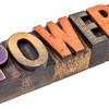 power in vintage wood type