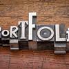 portfolio word in metal type