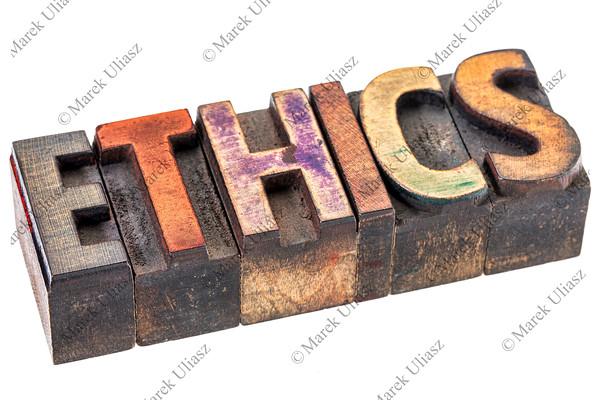 ethics word in vintage wood type