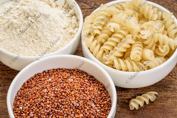 quinoa grain, flour and pasta