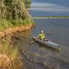 canoe paddling on lake in Colorado