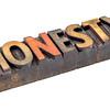 honesty word in vintage wood type