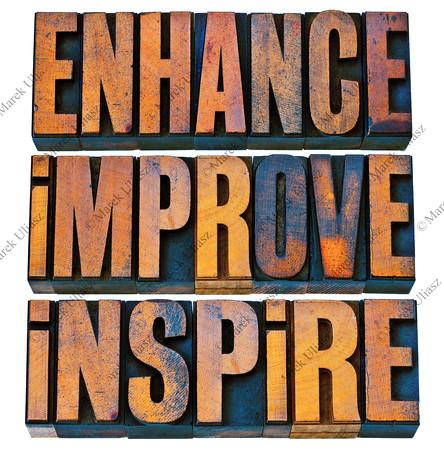 enhance, improve, inspire in wood type