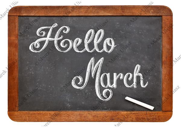 Hello March sign on blackboard