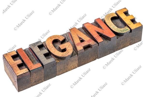 elegance word in vintage wood type