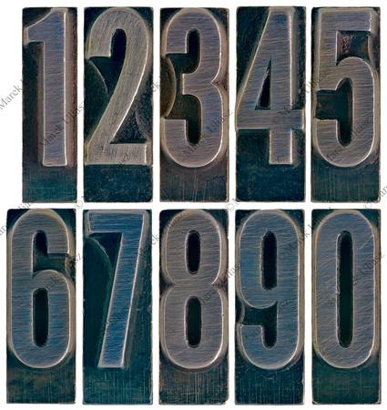 ten metal type numbers isolated