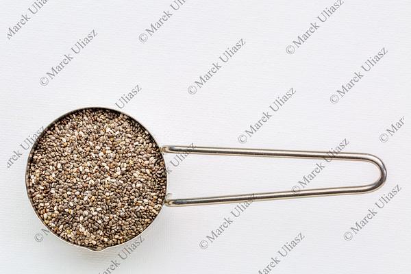 chia seeds in metal scoop