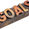 goals word in vintage wood type