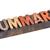 summary word in vintage wood type